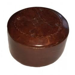 Caja redonda de cuero