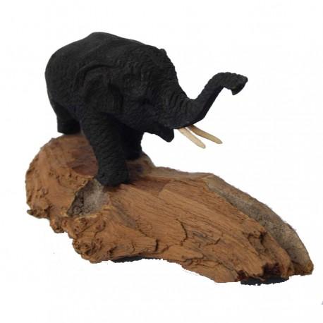 Elefante sobre tronco